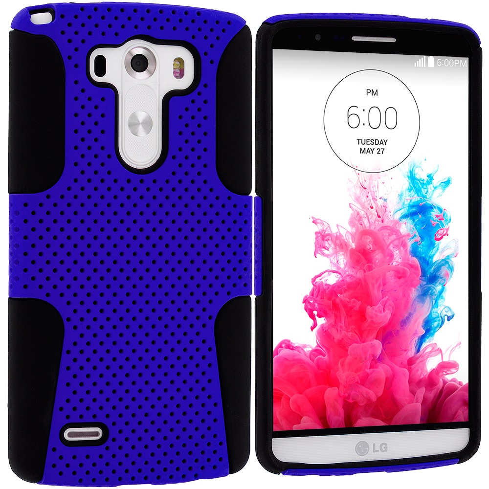 LG G3 Black / Blue Hybrid Mesh Hard/Soft Case Cover