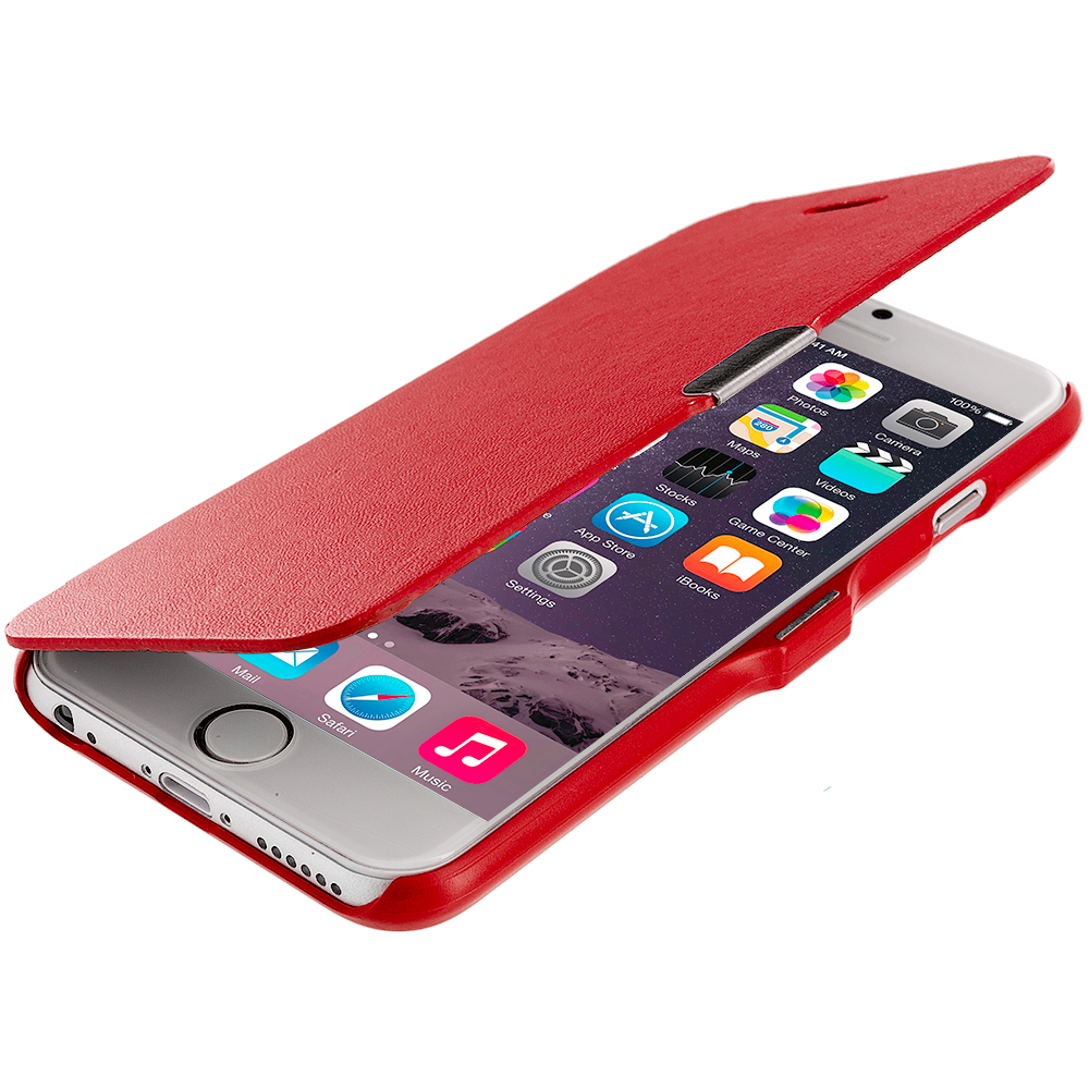 Apple iPhone 6 6S (4.7) Red Magnetic Wallet Case Cover Pouch