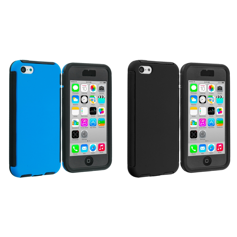 Apple iPhone 5C 2 in 1 Combo Bundle Pack - Black / Blue Hybrid Hard TPU Shockproof Case Cover With Built in Screen Protector