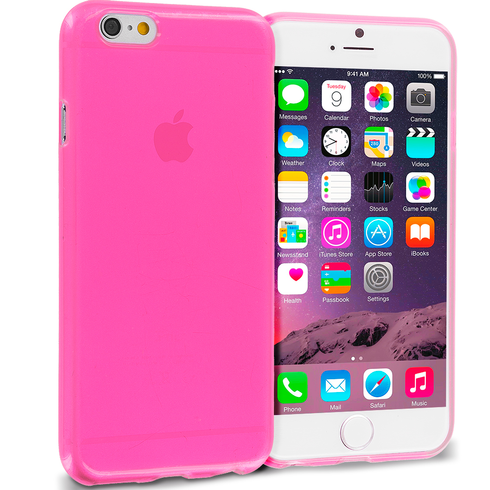 Apple iPhone 6 Plus 6S Plus (5.5) Hot Pink Transparent TPU Rubber Skin Case Cover