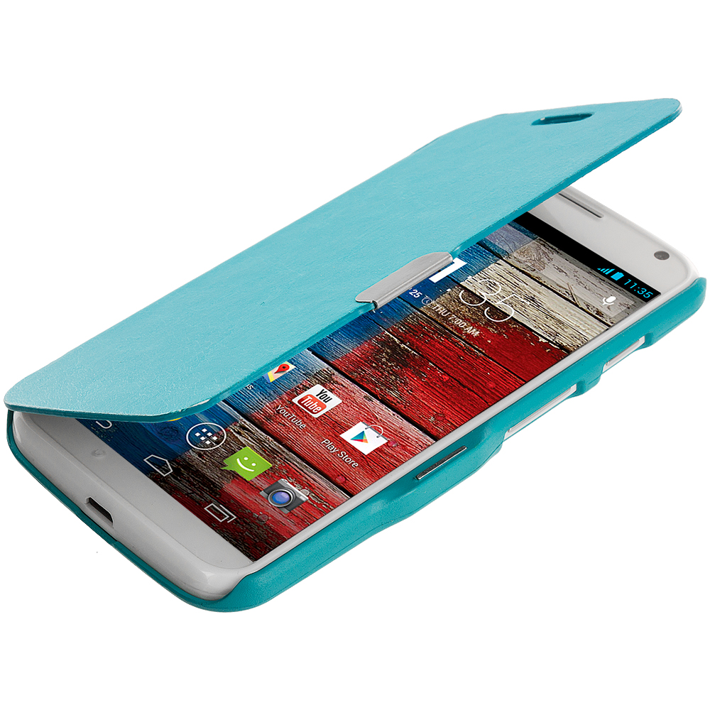 Motorola Moto X Baby Blue Magnetic Flip Wallet Case Cover Pouch
