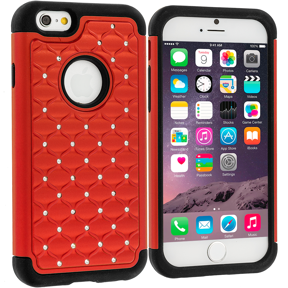 Apple iPhone 6 Plus 6S Plus (5.5) 5 in 1 Combo Bundle Pack - Hard Rubberized Diamond Case Cover : Color Red