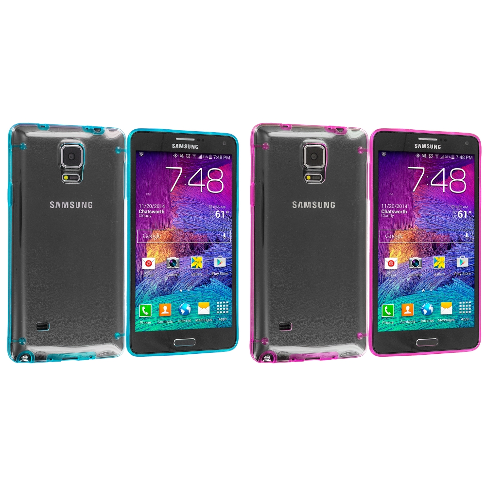 Samsung Galaxy Note 4 2 in 1 Combo Bundle Pack - Baby Blue Pink Crystal Robot Hard Case Cover