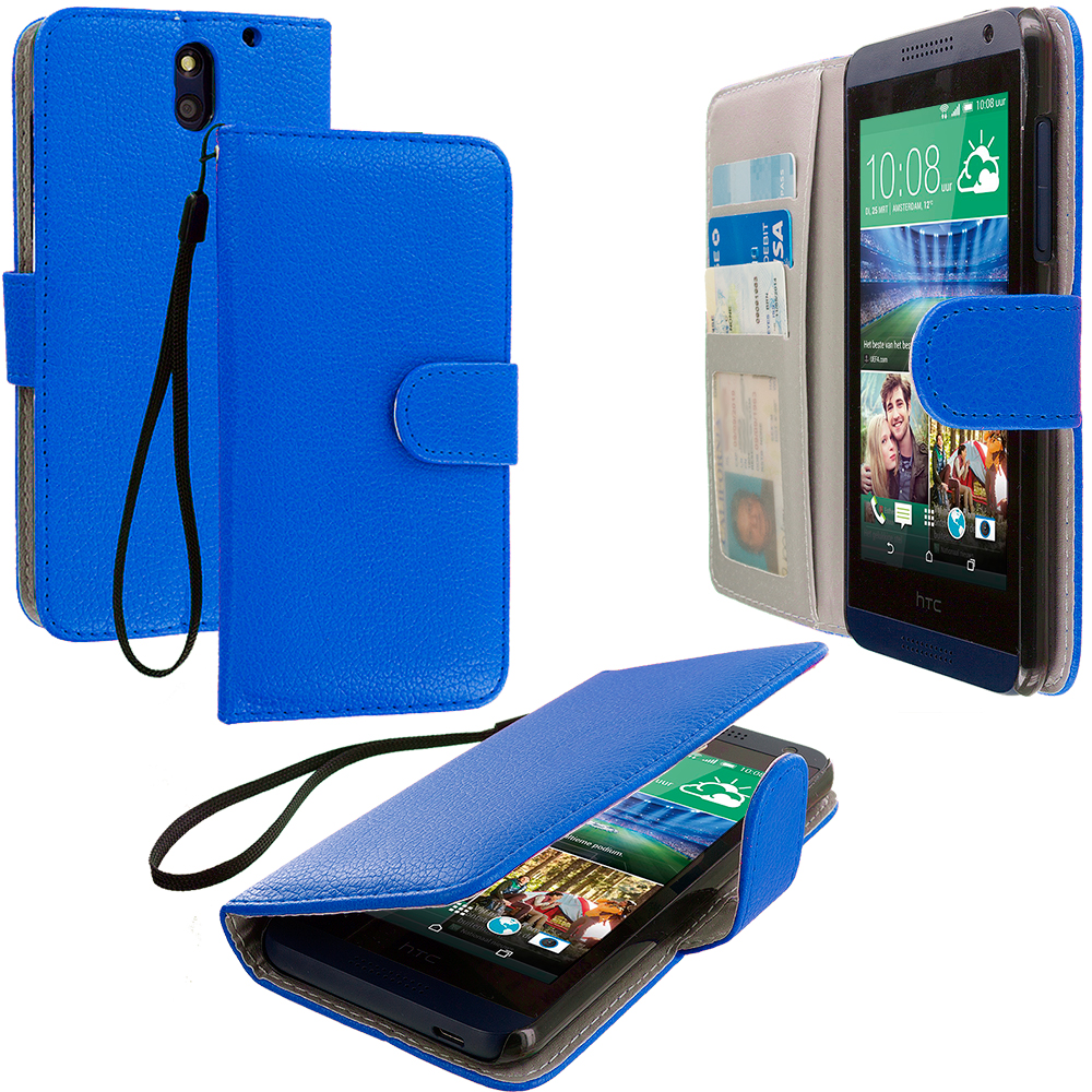 HTC Desire 610 Blue Leather Wallet Pouch Case Cover with Slots