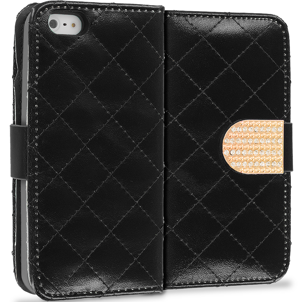 Apple iPod Touch 4th Generation Black Luxury Wallet Diamond Design Case Cover With Slots