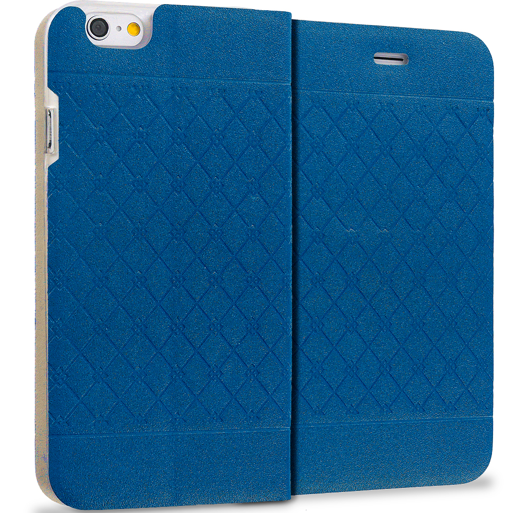 Apple iPhone 6 6S (4.7) 4 in 1 Combo Bundle Pack - Slim Wallet Plaid Luxury Design Flip Case Cover : Color Navy Blue