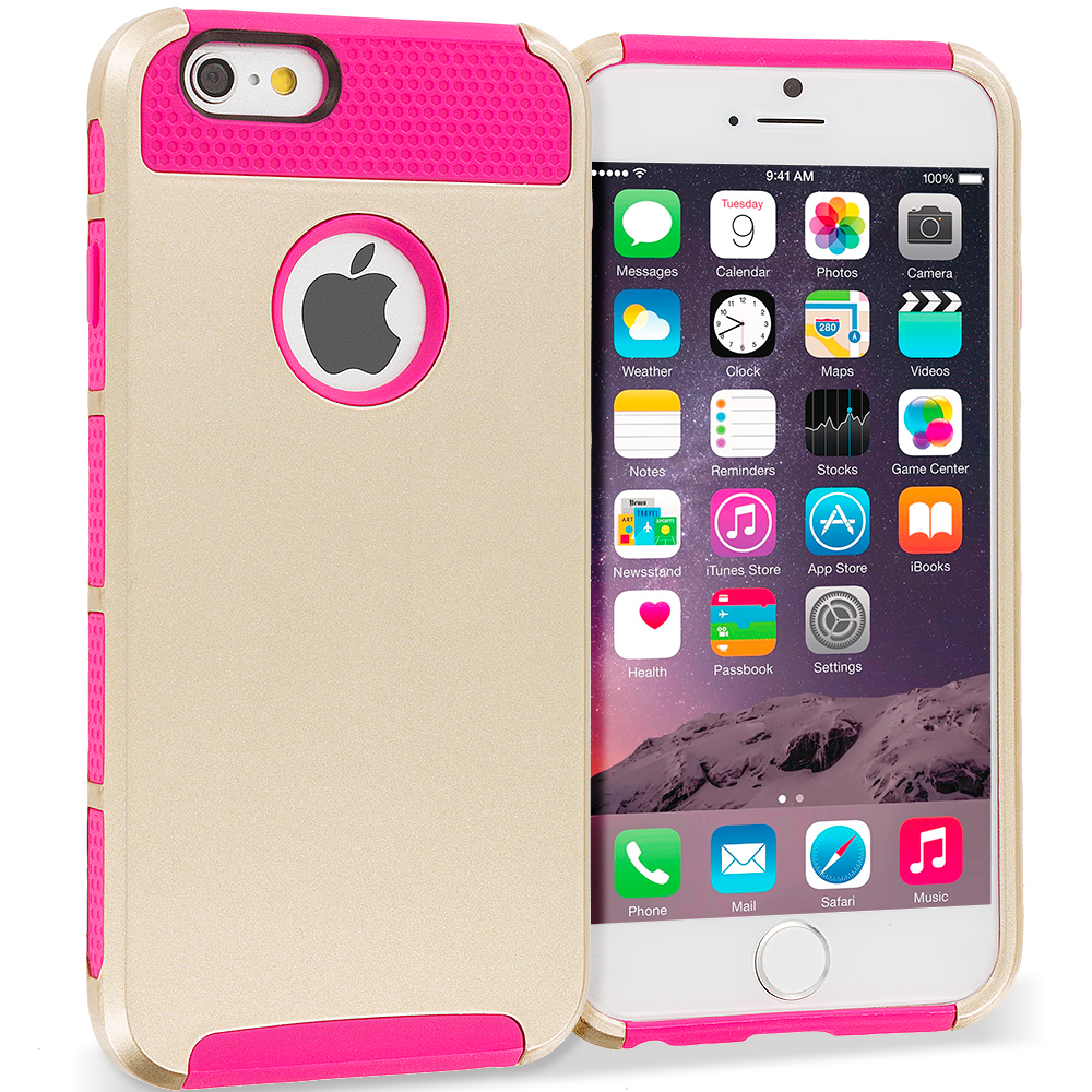 Apple iPhone 6 6S (4.7) 4 in 1 Combo Bundle Pack - Hybrid Hard TPU Honeycomb Rugged Case Cover : Color Gold / Pink