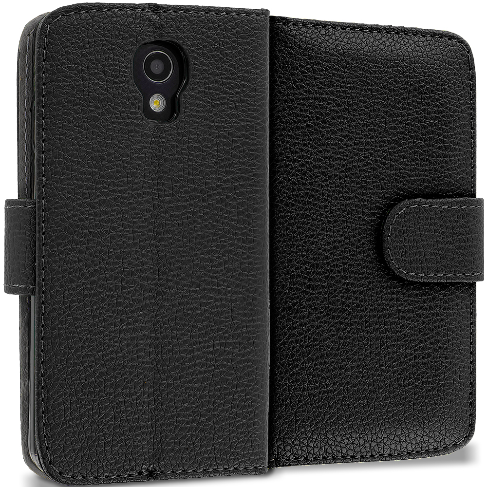 LG Volt LS740 Black Leather Wallet Pouch Case Cover with Slots