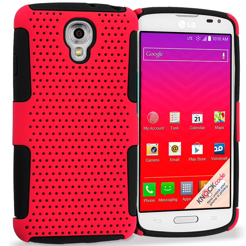 LG Volt LS740 Black / Red Hybrid Mesh Hard/Soft Case Cover