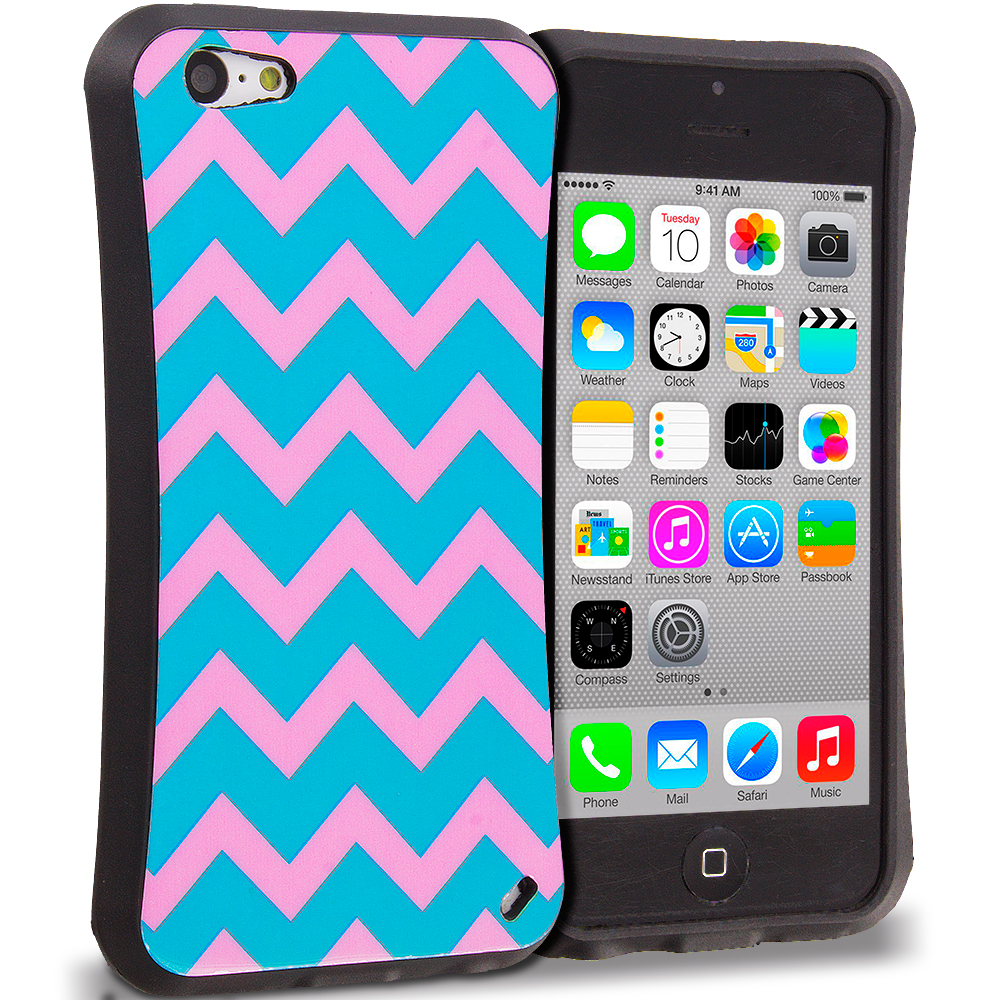 Apple iPhone 5C 2 in 1 Combo Bundle Pack - Hot Pink Blue Wave Hybrid TPU Hard Soft Shockproof Drop Proof Case Cover : Color Pink Wave