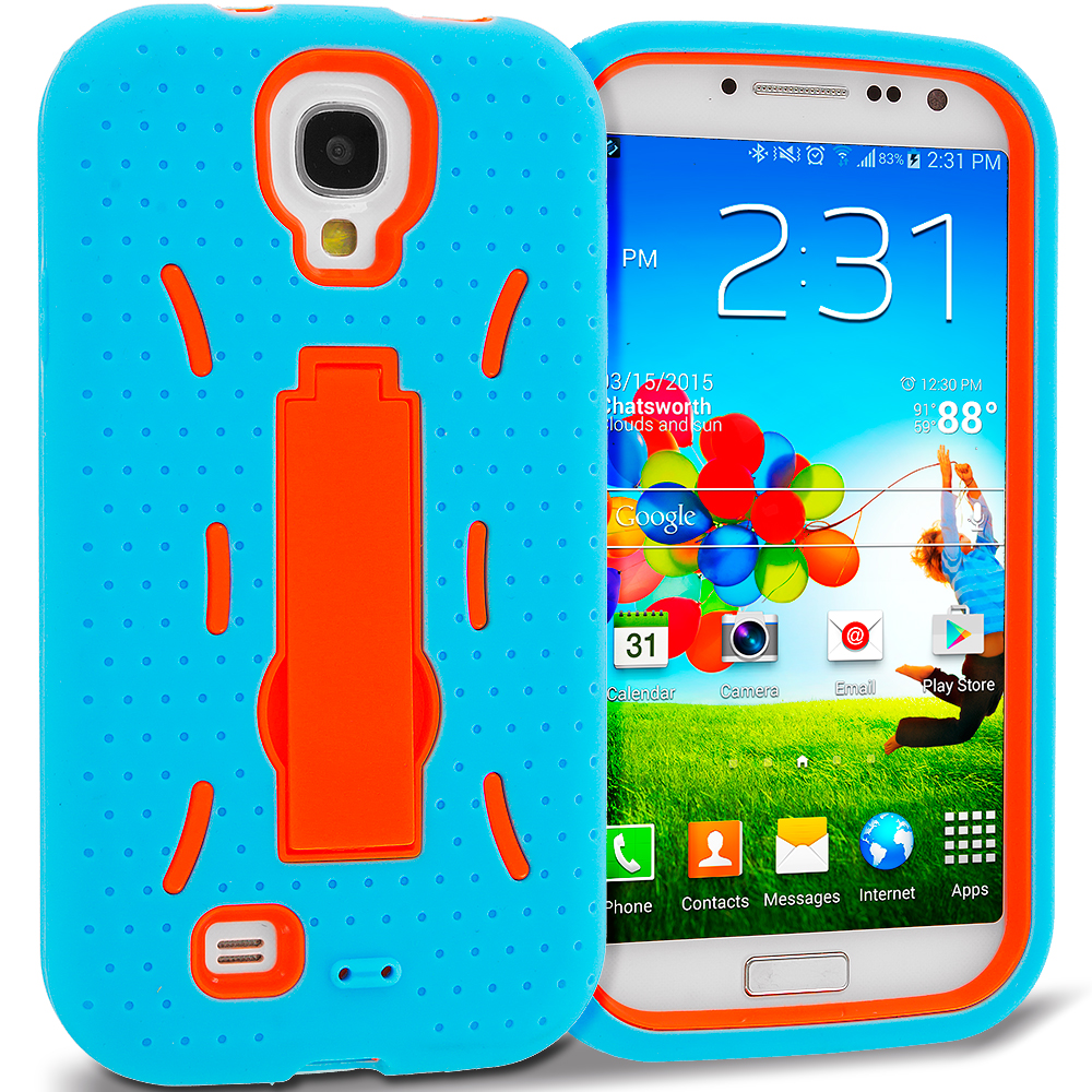 Samsung Galaxy S4 Baby Blue / Orange Hybrid Heavy Duty Hard Soft Case Cover with Kickstand