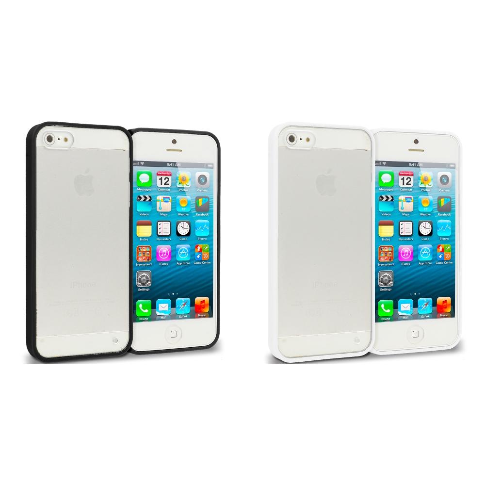 Apple iPhone 5/5S/SE 2 in 1 Combo Bundle Pack - Black White TPU Plastic Hybrid Case Cover
