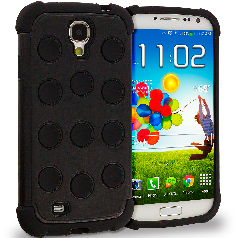 Samsung Galaxy S4 Black Circles Hybrid Hard/Soft Case Cover