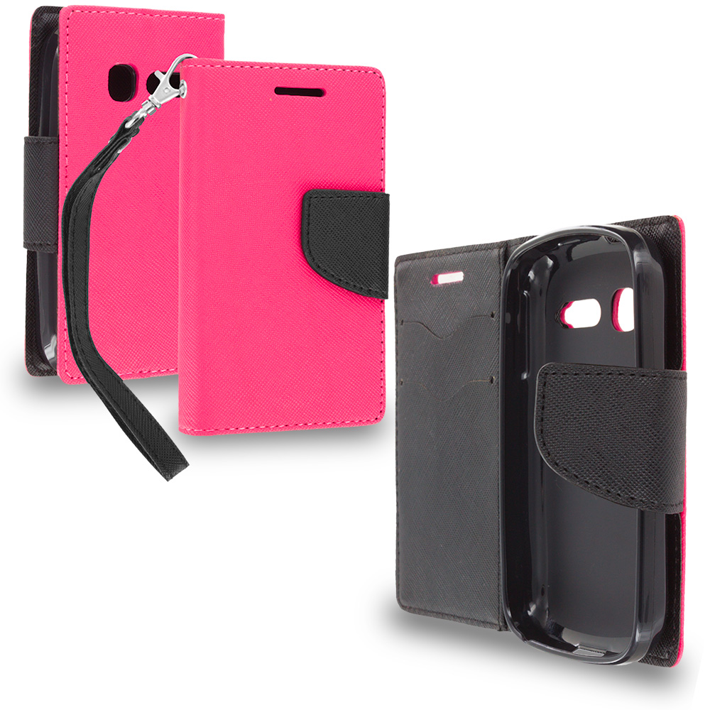 Alcatel One Touch Pop C1 Hot Pink / Black Leather Flip Wallet Pouch TPU Case Cover with ID Card Slots