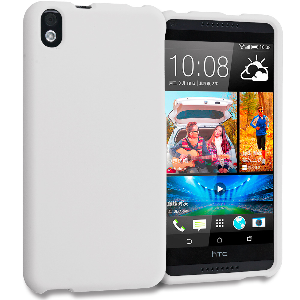 HTC Desire 816 White Hard Rubberized Case Cover