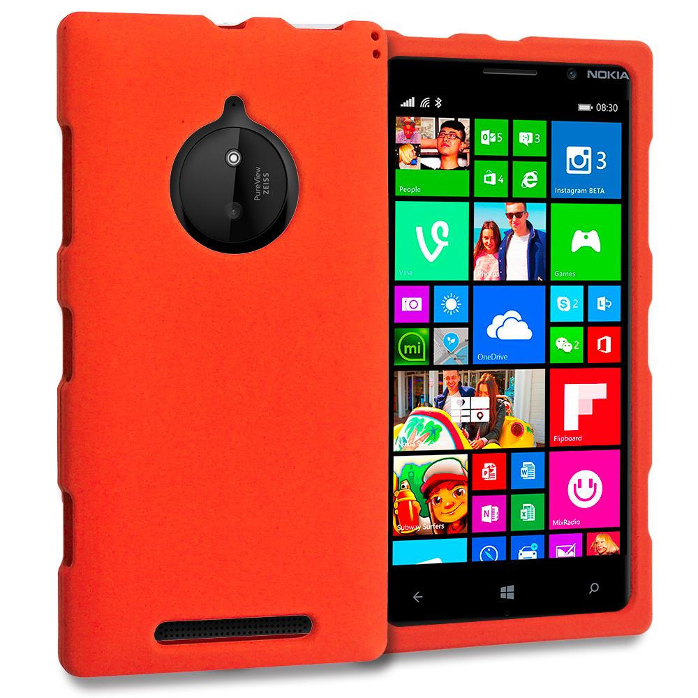 Nokia Lumia 830 Orange Hard Rubberized Case Cover