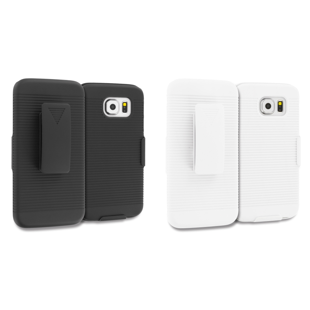 Samsung Galaxy S6 Combo Pack : Black Belt Clip Holster Hard Case Cover