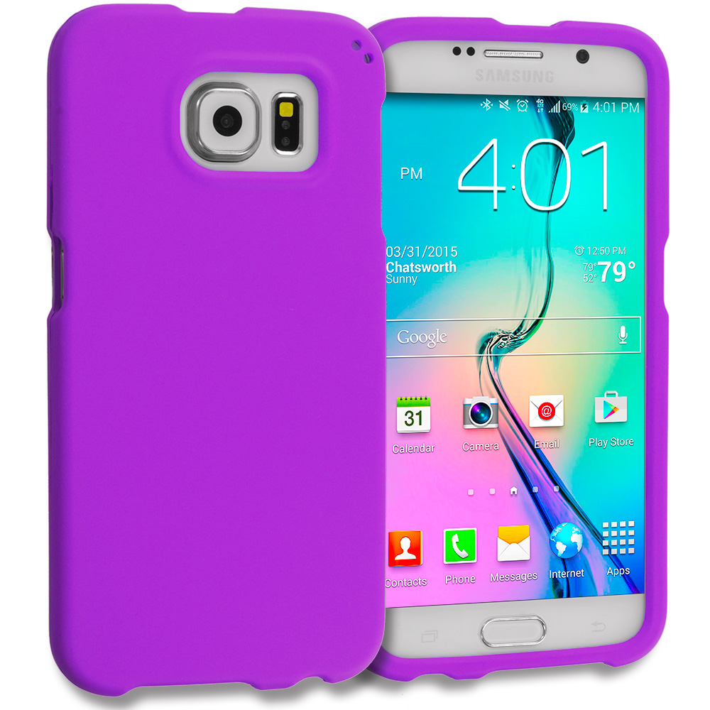 Samsung Galaxy S6 Combo Pack : Hot Pink Hard Rubberized Case Cover : Color Purple