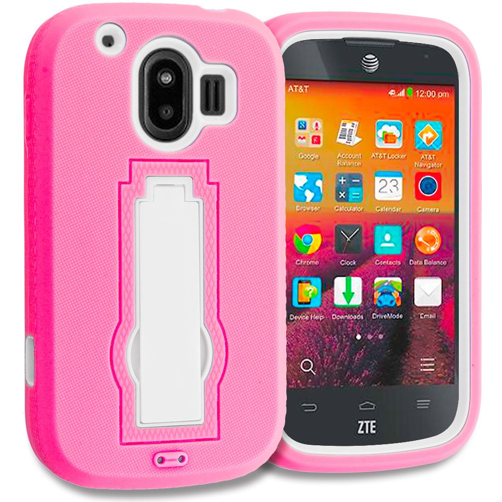 ZTE Compel Hot Pink / White Hybrid Heavy Duty Hard Soft Case Cover with Kickstand