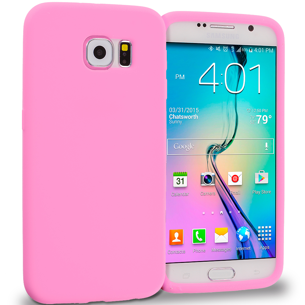 Samsung Galaxy S6 Combo Pack : Baby Blue Silicone Soft Skin Rubber Case Cover : Color Light Pink