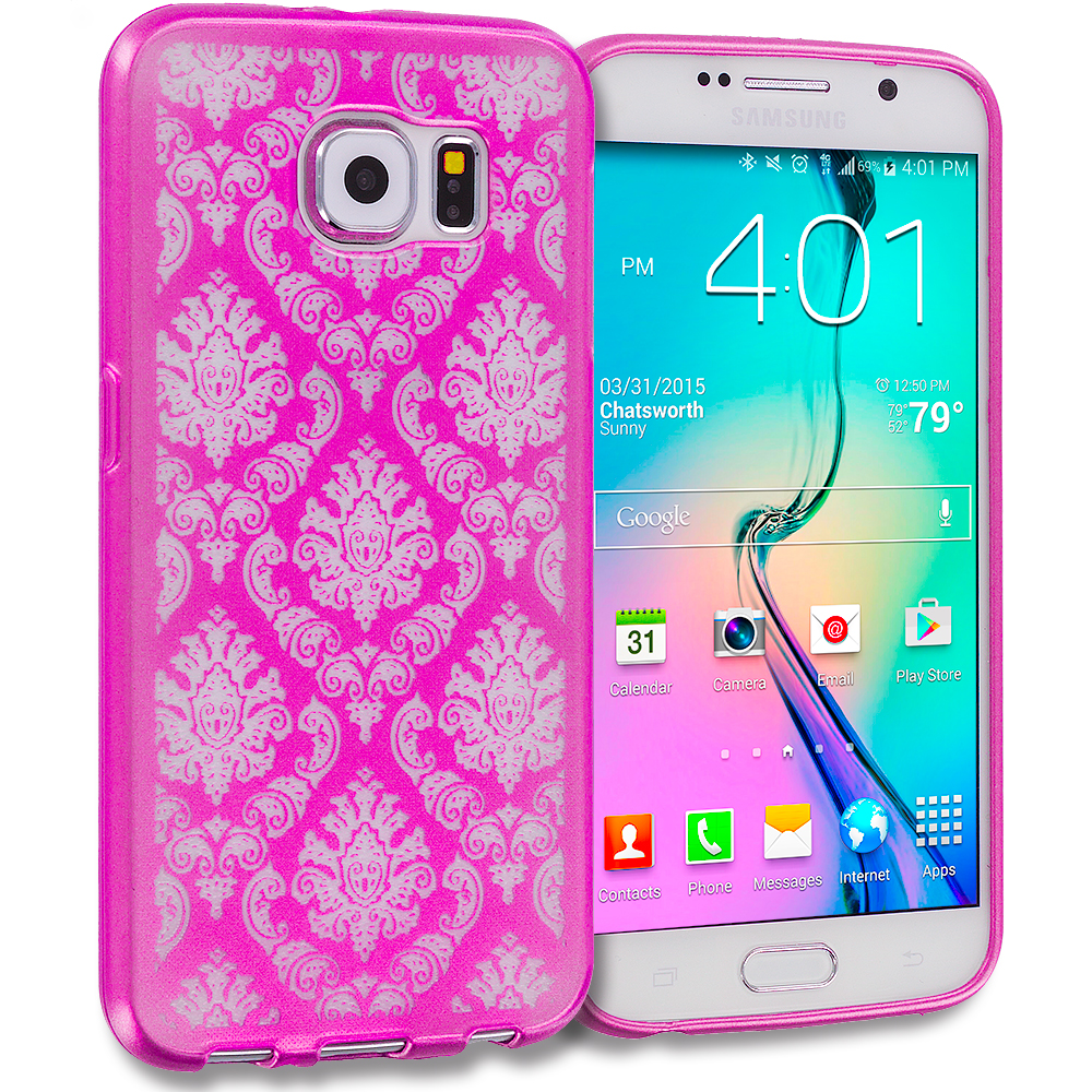 Samsung Galaxy S6 Hot Pink TPU Damask Designer Luxury Rubber Skin Case Cover