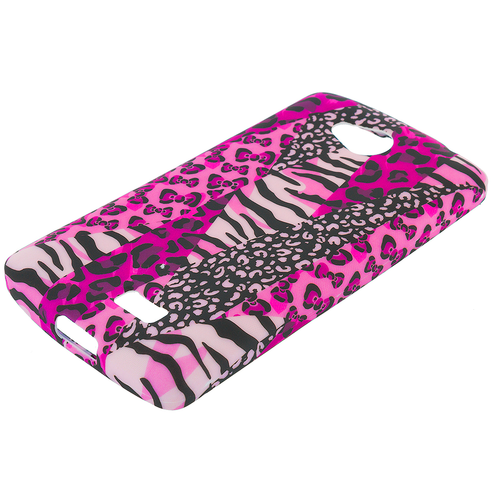 LG Transpyre Tribute F60 Bowknot Zebra TPU Design Soft Rubber Case Cover