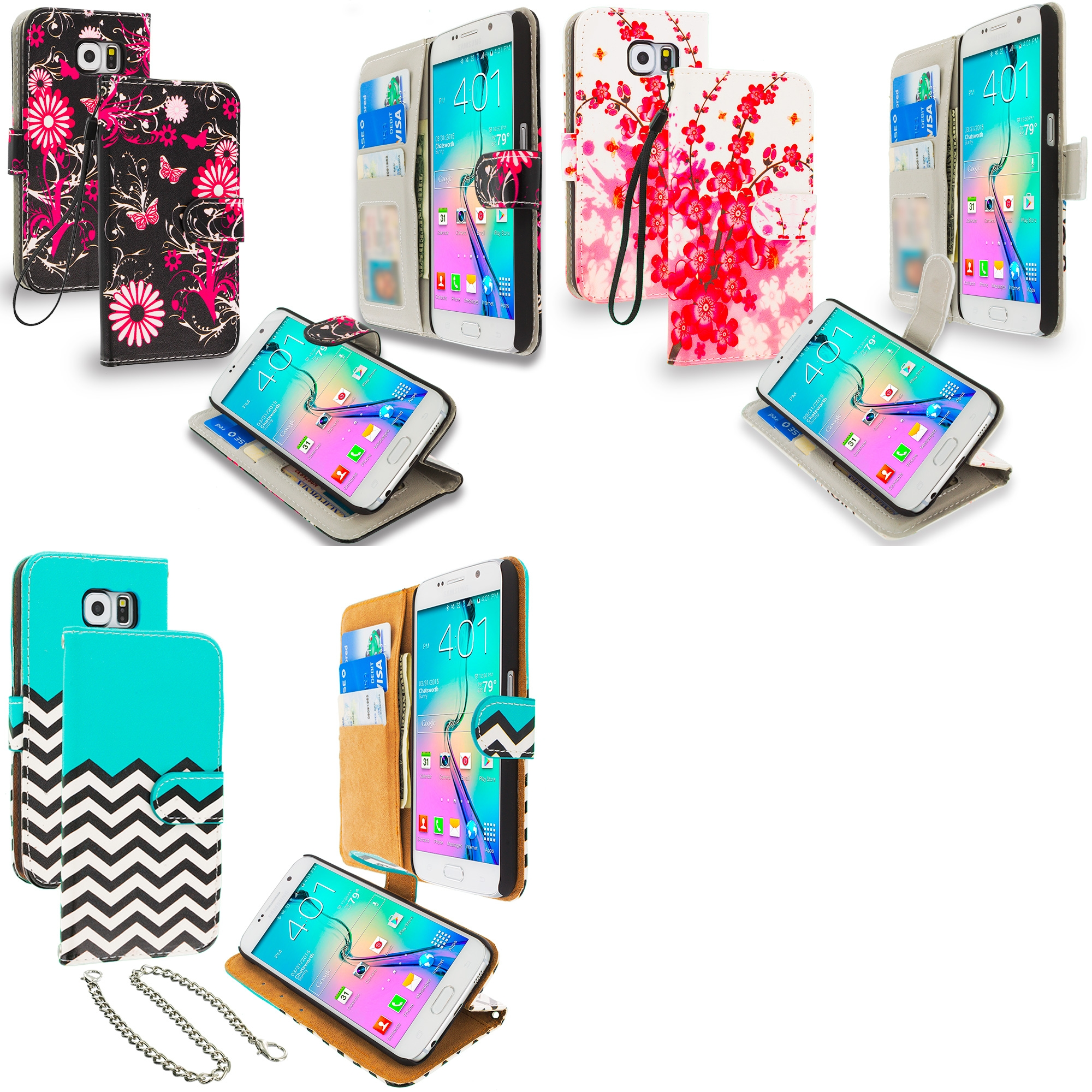 Samsung Galaxy S6 3 in 1 Combo Bundle Pack - Zebra Leather Wallet Pouch Case Cover with Slots