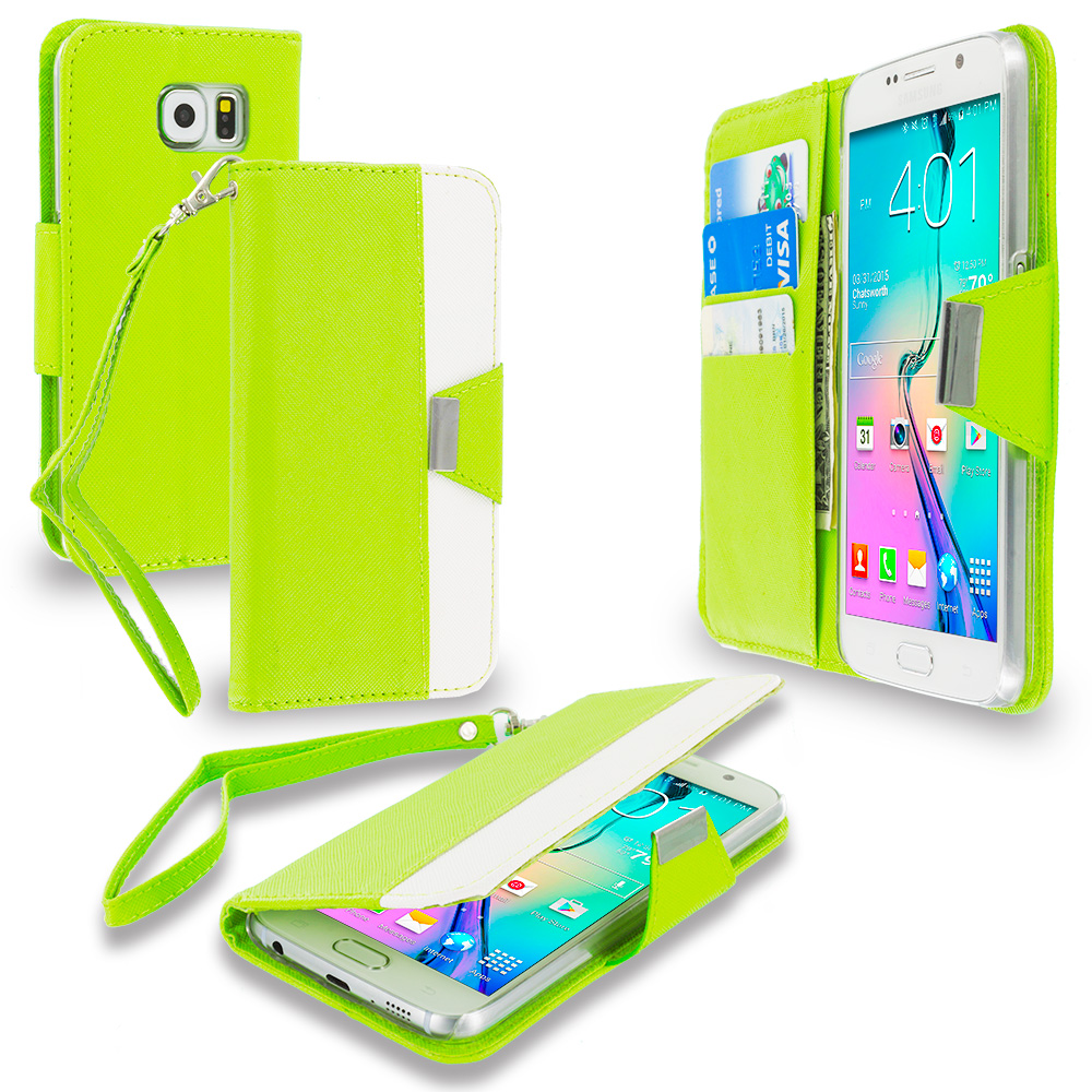 Samsung Galaxy S6 Combo Pack : Yellow Wallet Magnetic Metal Flap Case Cover With Card Slots : Color Neon Green