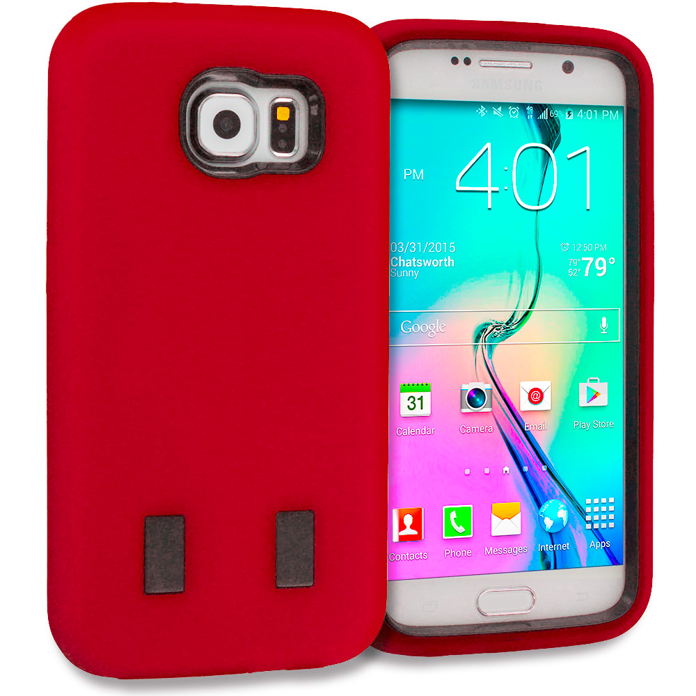 Samsung Galaxy S6 Combo Pack : Red / Black Hybrid Deluxe Hard/Soft Case Cover : Color Red / Black