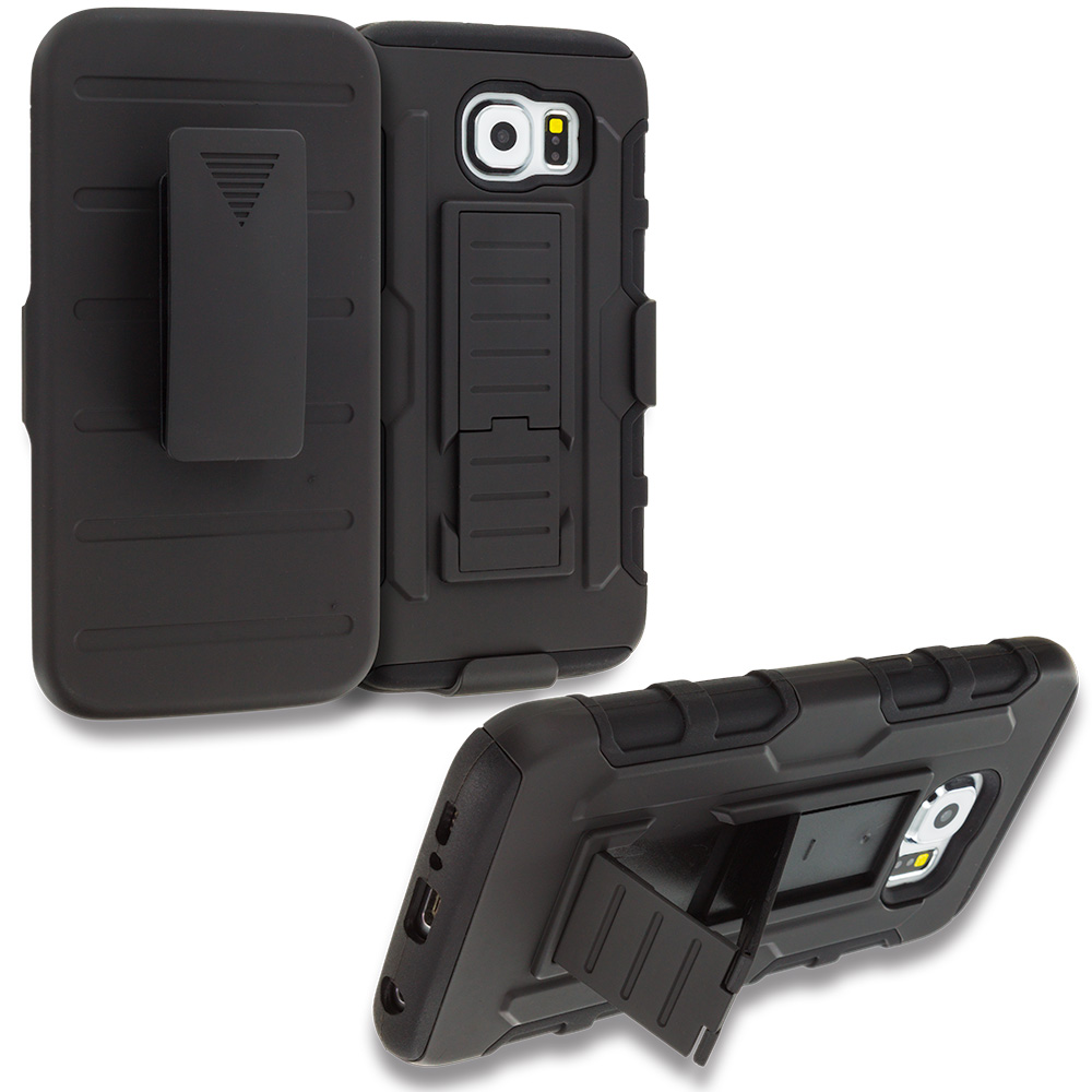 Samsung Galaxy S6 Black Hybrid Rugged Robot Armor Heavy Duty Case Cover with Belt Clip Holster