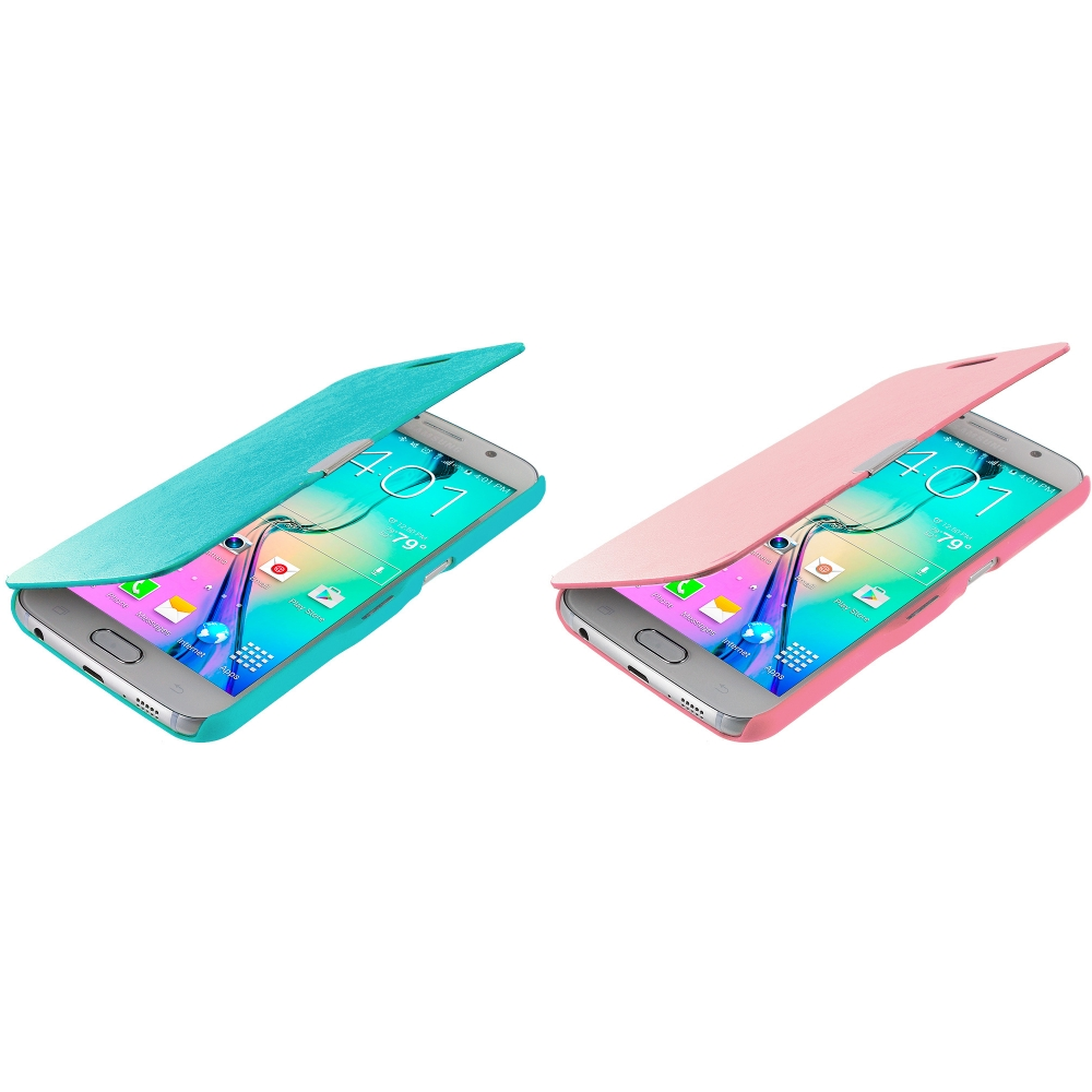 Samsung Galaxy S6 Combo Pack : Baby Blue Magnetic Flip Wallet Case Cover Pouch
