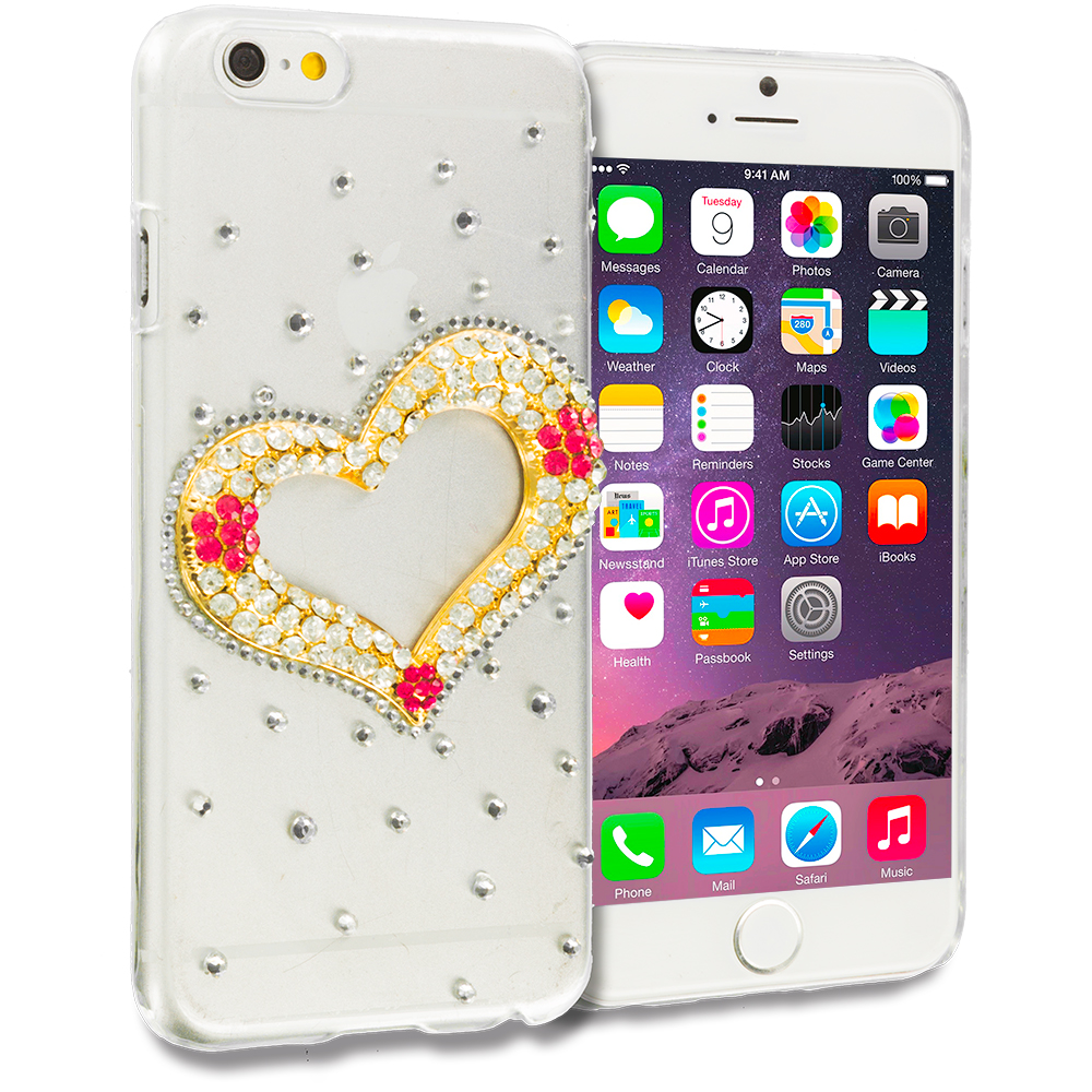 Apple iPhone 6 Plus 6S Plus (5.5) Heart Bling Rhinestone Case Cover