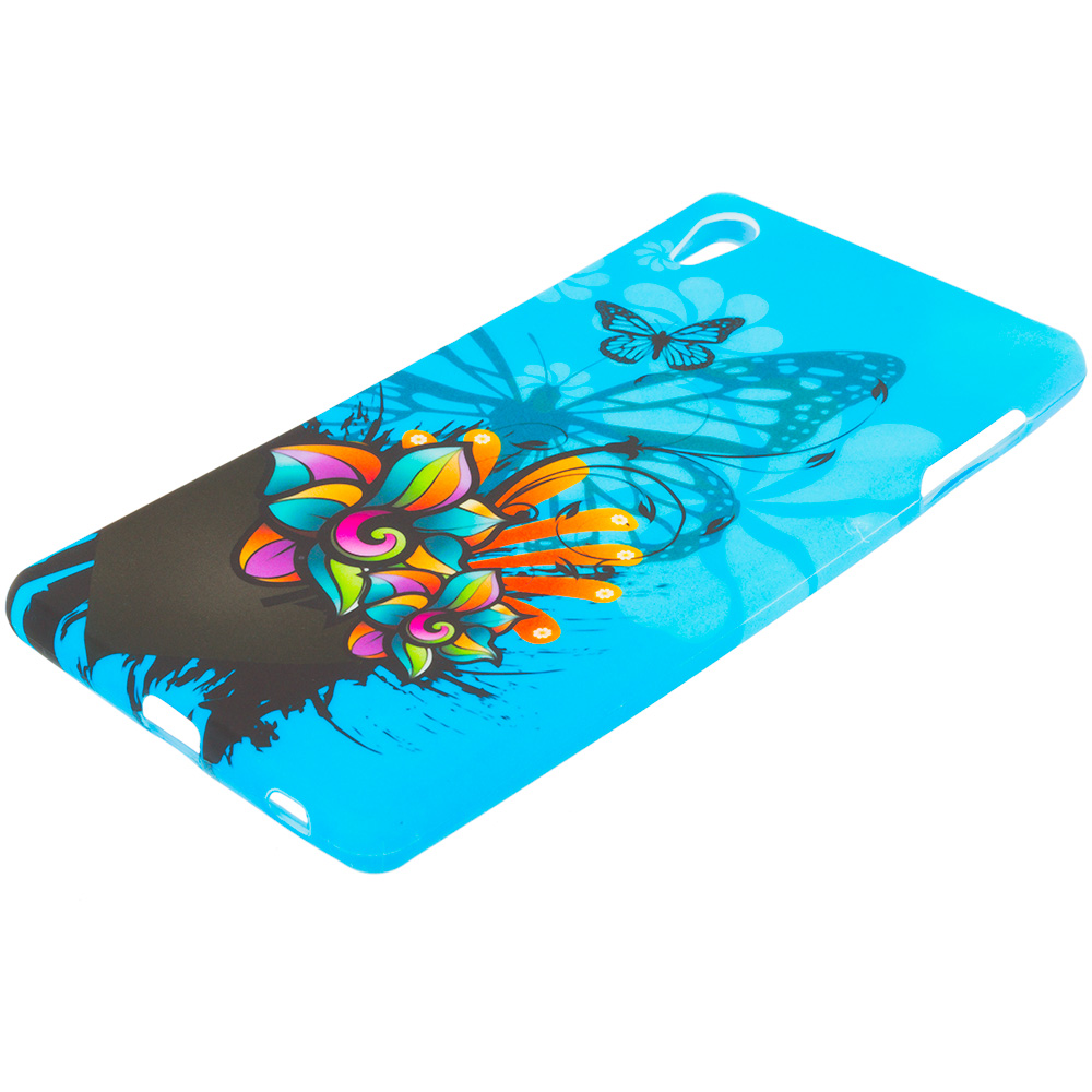 Sony Xperia Z4v Blue Butterfly Flower TPU Design Soft Rubber Case Cover