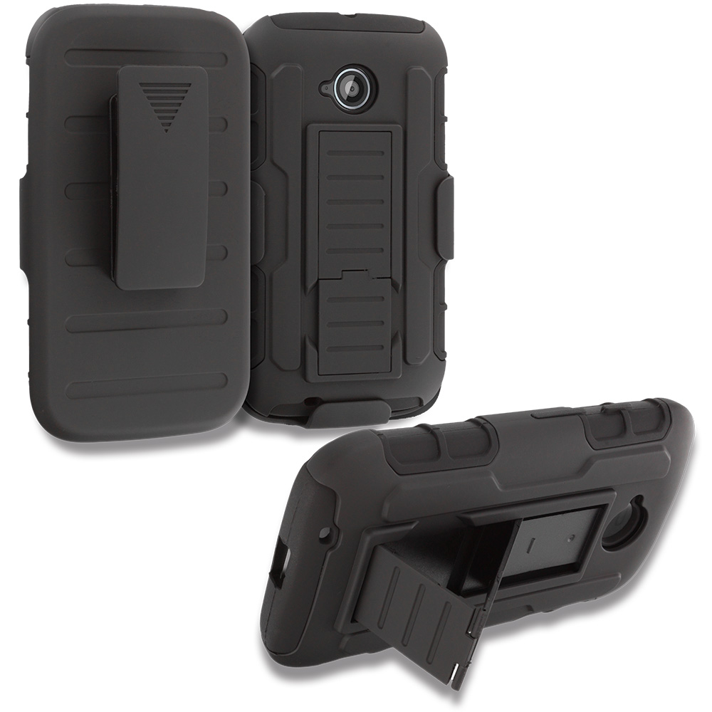 Motorola Moto E LTE 2nd Generation Black Hybrid Rugged Robot Armor Heavy Duty Case Cover with Belt Clip Holster