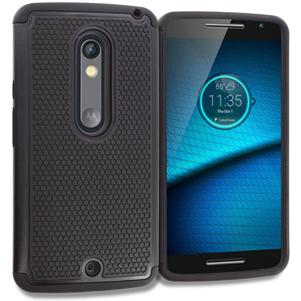 Motorola Droid Maxx 2 XT1565 Black Hybrid Rugged Grip Shockproof Case Cover