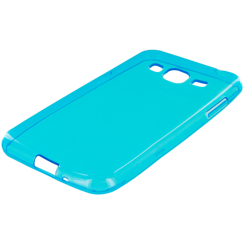 Samsung Galaxy J3 Combo Pack : Baby Blue TPU Rubber Skin Case Cover : Color Baby Blue