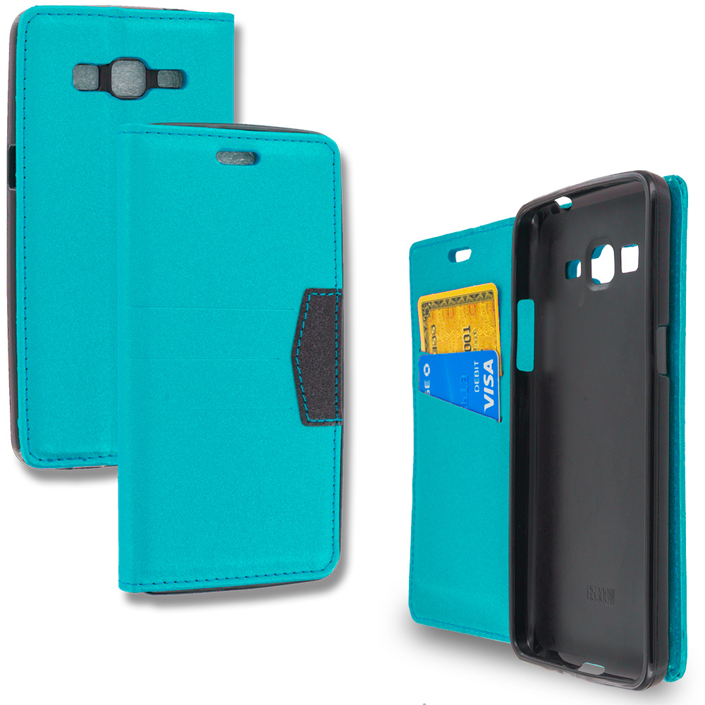 Samsung Galaxy Grand Prime LTE G530 Baby Blue Wallet Flip Leather Pouch Case Cover with ID Card Slots