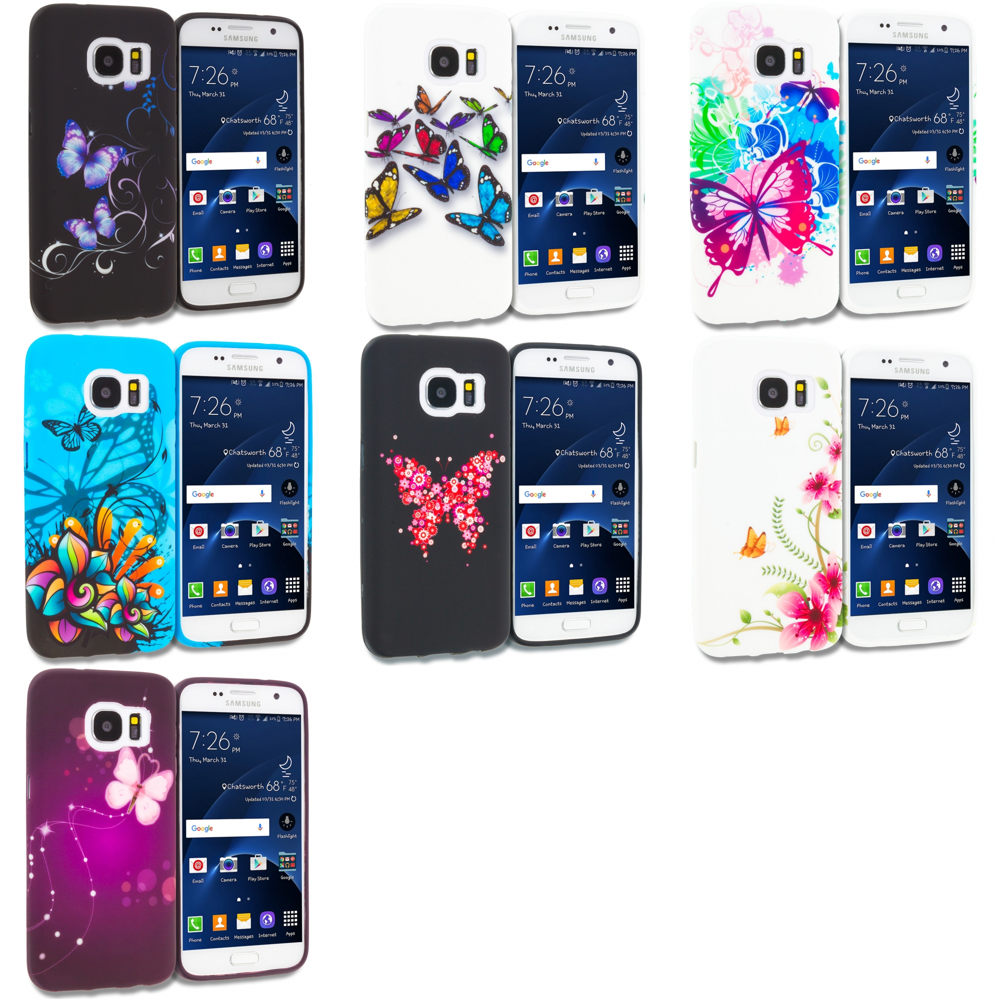 Samsung Galaxy S7 Combo Pack : Black Purple Butterfly TPU Design Soft Rubber Case Cover