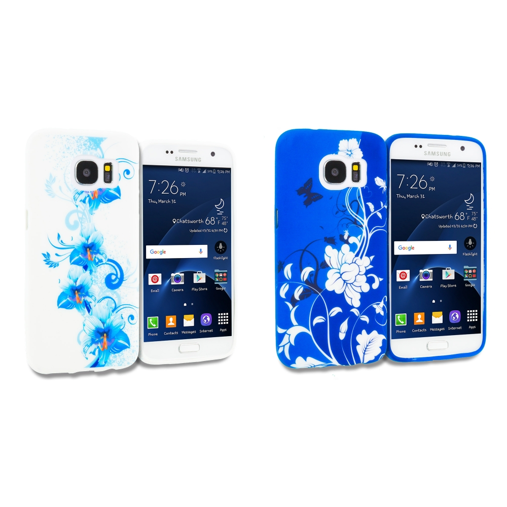 Samsung Galaxy S7 Combo Pack : Blue White Flower TPU Design Soft Rubber Case Cover