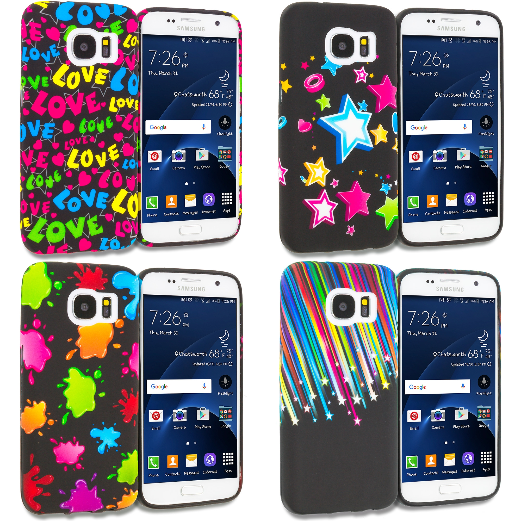 Samsung Galaxy S7 Combo Pack : Colorful Love on Black TPU Design Soft Rubber Case Cover