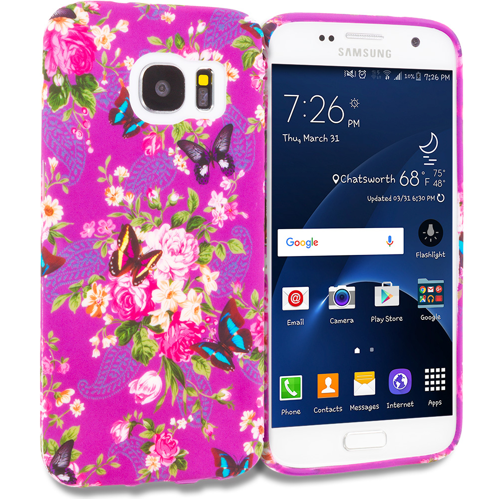 Samsung Galaxy S7 Combo Pack : Colorful Flower TPU Design Soft Rubber Case Cover : Color Purple Mixed Flower