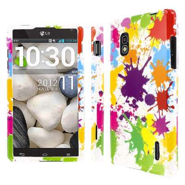AT&T LG Optimus G E970 MPERO Full Protection Paint Splatter White Case Cover