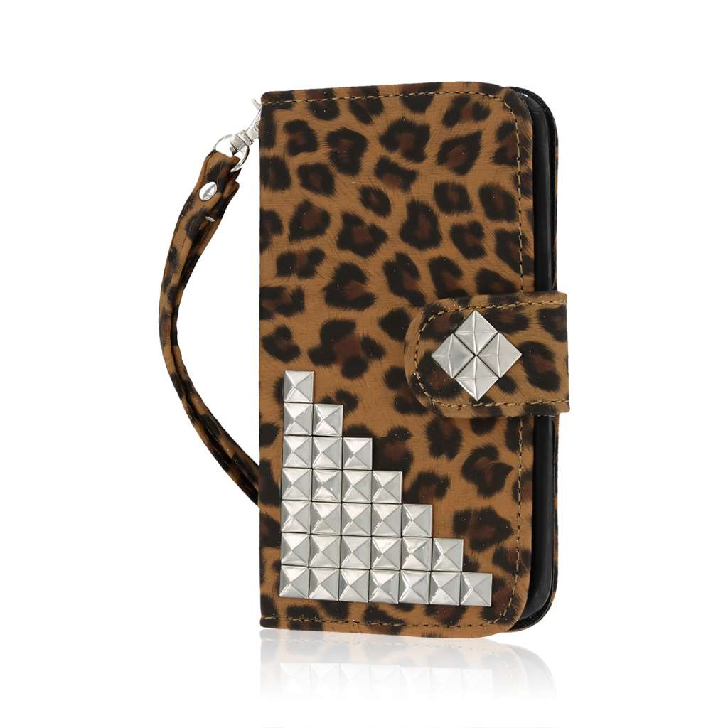 LG G2 Mini - Studded Leopard MPERO FLEX FLIP Wallet Case Cover