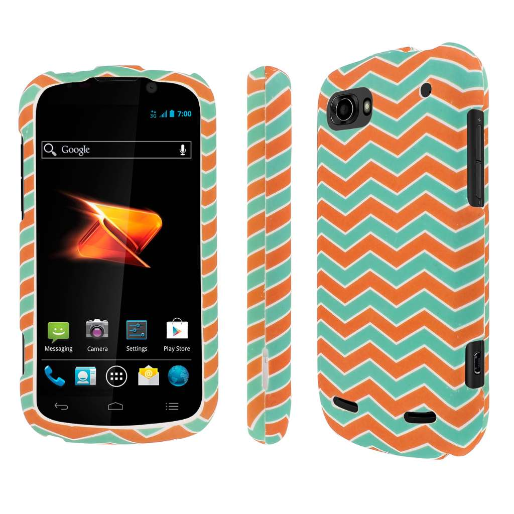 ZTE Warp Sequent - Mint Chevron MPERO SNAPZ - Rubberized Case Cover