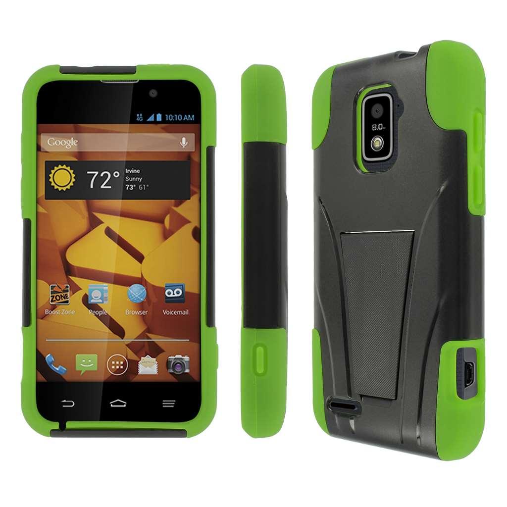ZTE Warp 4G- BLACK/NEON GREEN MPERO IMPACT X - Kickstand Case Cover