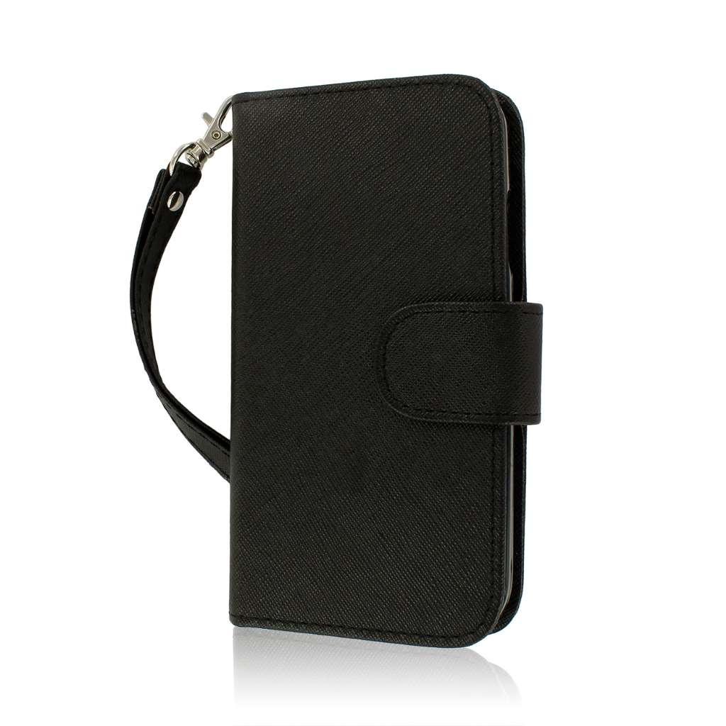 Samsung Galaxy S4 I9500 I905 L720 - Black MPERO FLEX FLIP Wallet Case Cover