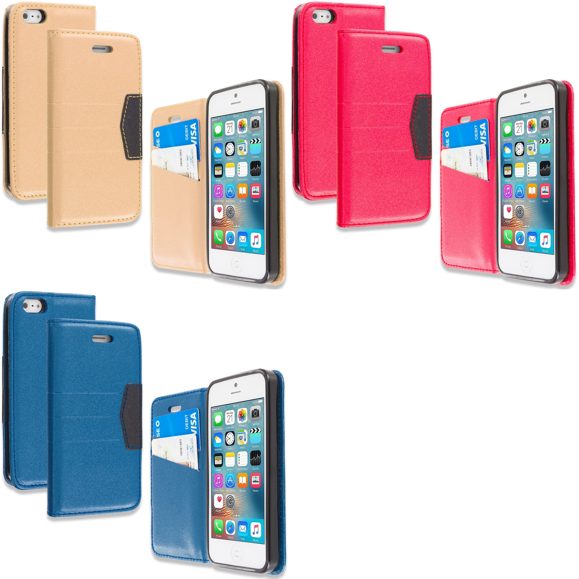 Apple iPhone 5/5S/SE Combo Pack : Gold Wallet Flip Leather Pouch Case Cover with ID Card Slots