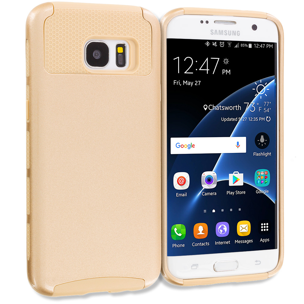 Samsung Galaxy S7 Edge Gold / Gold Hybrid Hard TPU Honeycomb Rugged Case Cover