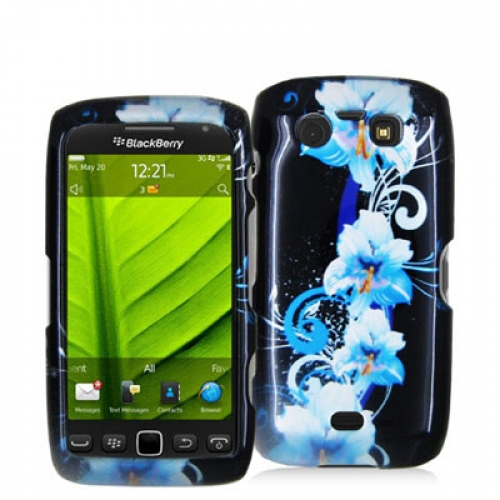 BlackBerry Torch 9850 9860 Blue Flower Design Crystal Hard Case Cover