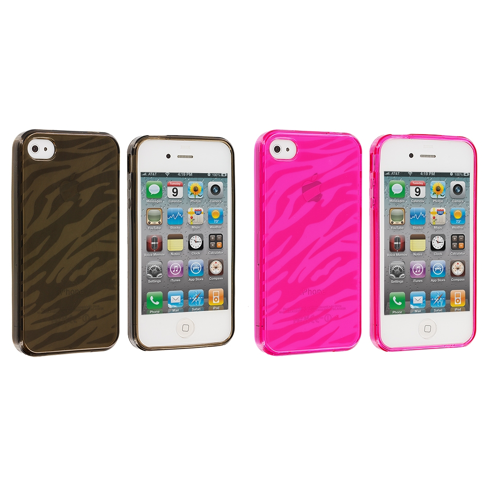 Apple iPhone 4 Bundle Pack Smoke Pink Zebra TPU Rubber Skin Case Cover
